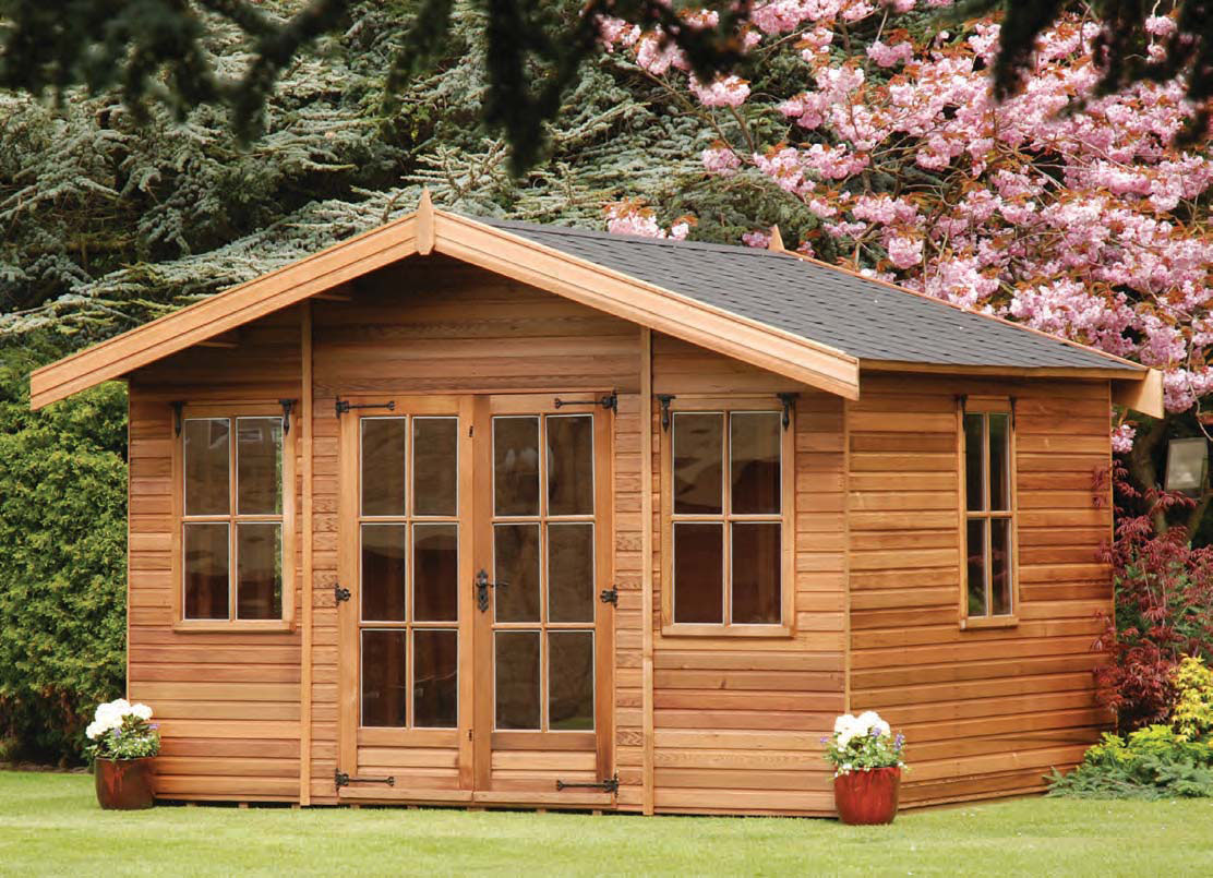 Milan double glazed sheds summerhouses hampshire for Cedar garden office